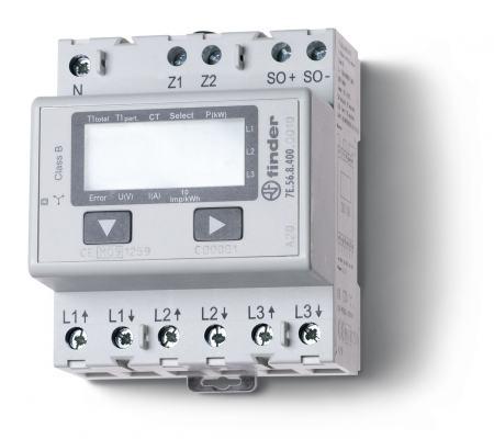 Elektronikus fogyasztásmérő 3 fázis 3x6A LCD kijelző