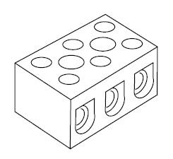 1128 Porcelán sorkapocs 3 pólusú