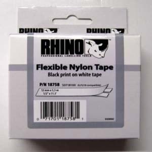 DYMO RHINO ID1 nylon kazetta, 12mmx3.5m, fekete>fehér