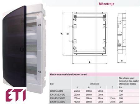 ETI DIDO-E ECM8PT süllyesztett kiselosztó átlátszó ajtóval 8-36 modulos