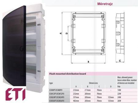 ETI DIDO-E ECM8PT süllyesztett kiselosztó átlátszó ajtóval 8-54 modulos